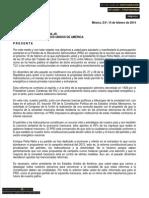 Carta que dirigencia del PRD entregó a la Embajada de EU dirigida a Barack Obama