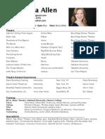 Susanna Allen Theatre Resume 2014