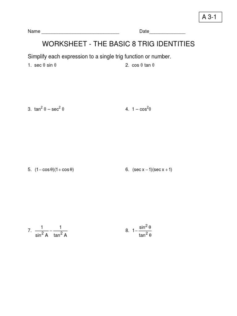 Trig Double Angle Worksheets Kuta trig double angle worksheets – Basic Trigonometry Worksheets