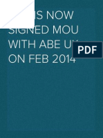 TAU is now signed MOU with ABE UK on Feb 2014