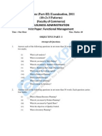 BUSUNESS ADMINISTRATION First Paper