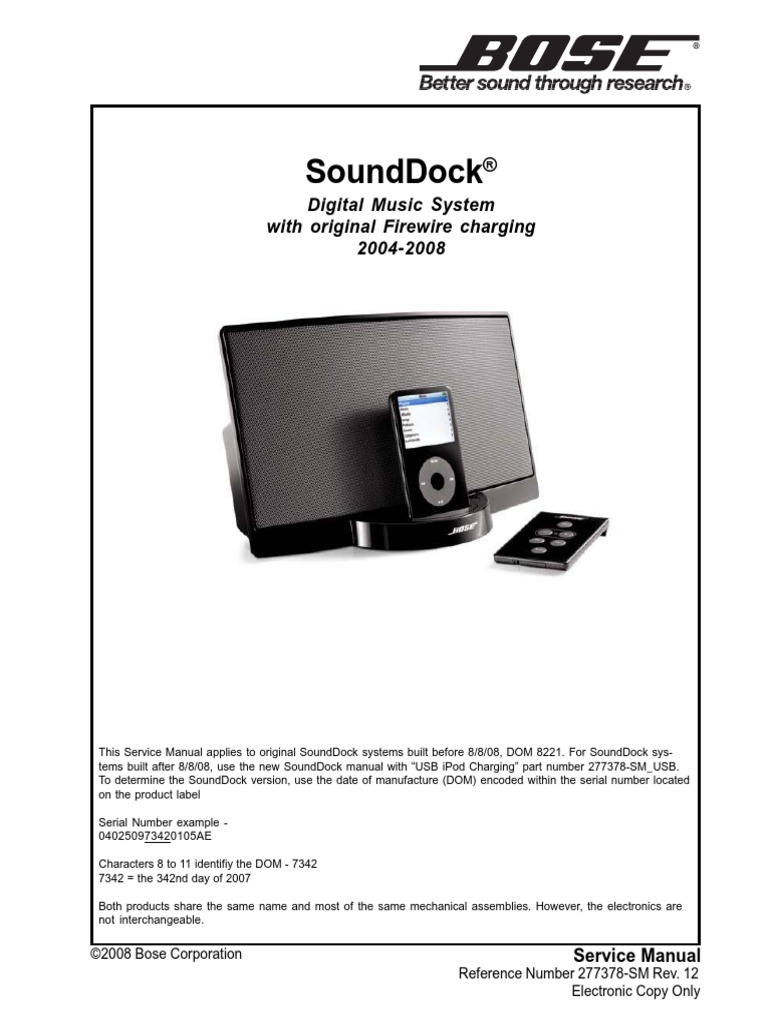 bose sounddock electrostatic discharge i pod rh es scribd com bose audio bluetooth adapter manual bose audio manual