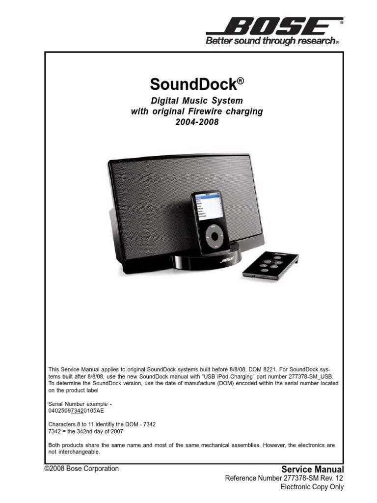 bose sounddock electrostatic discharge i pod rh scribd com  bose sounddock series ii user guide