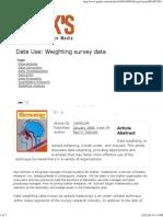 Use Data Weighting Survey Data