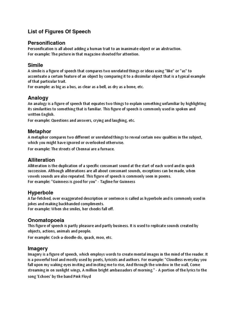 List Of Figures Of Speech Metaphor Anthropomorphism