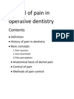 Control of Pain in Operative Dentistry