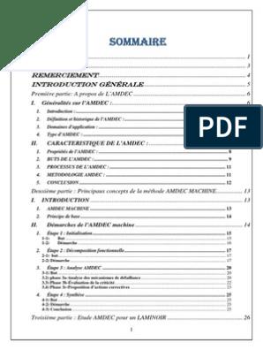 Pfe Amdec Machine Pdf Processus D Affaires Management De La Qualite