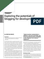 Exploring the potentials of  blogging for development