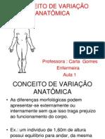 aula 1 CONCEITO DE VARIAÇÃO ANATÔMICA