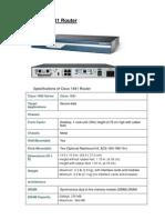 Spesifikasi Cisco 1841 Router