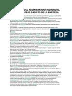 RELACIÓN DEL ADMINISTRADOR GERENCIAL CON LAS ÁREAS BÁSICAS DE LA EMPRESA