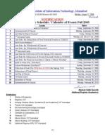 Fall 2009 Semester Schedule