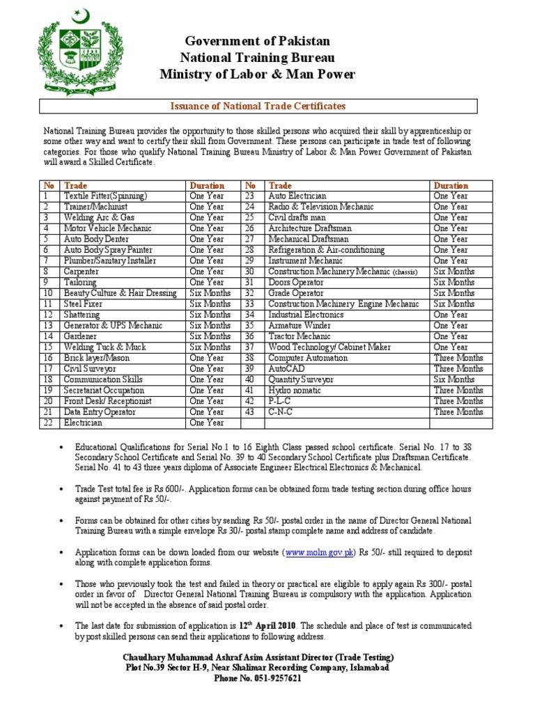 National Trade Certificate Advertisement Apprenticeship Electrician