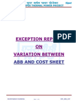 Abb vs Cost Sheet Exception