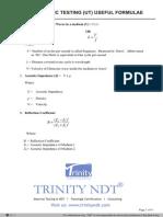 Ultrasonic Esting Useful Formulae
