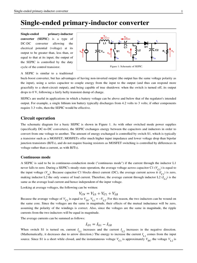 Single Ended Primary Inductor Converter Physical Quantities Buck Boost Inverting Sepic Electrical Engineering