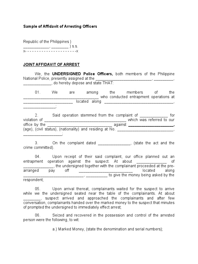 Sample of Affidavit of Arresting Officers – Homicide Report Template