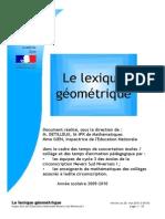 Le Lexique Geometrique