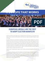 2014 Alde Party Manifesto