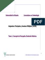 Tema 1 Concepto de Psicopatia. Evolucion Historica.