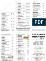 Anthony Pizzeria [Original Menu]