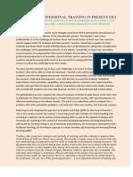 Role of Professional Training in Present Era