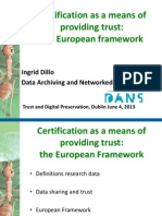 Certification as a means of providing trust: