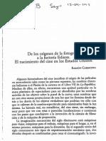 De los orígenes de la fotografía a la factoría de Edison. El nacimiento del cine en los Estados Unidos. - Ramón Carmona.pdf