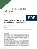 Hammam, nudité et ordre moral dans l'islam médiéval (II)