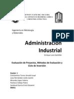 Administración, Evaluación de Proyectos, Métodos de Evaluación y Ciclo de Inversión