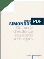(Livro Frances) Simondon Du Mode de l Existence Des Objets Techniques
