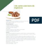 Quadrado de carne com torre de legumes orgânicos