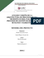 Análisis y Diseño de la Arquitectura de Procesos de una microfinanciera para los procesos de RRHH y MKT V3.0