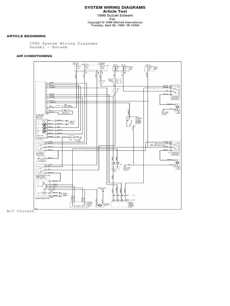 suzuki esteem wiring diagram   car   transport  scribd