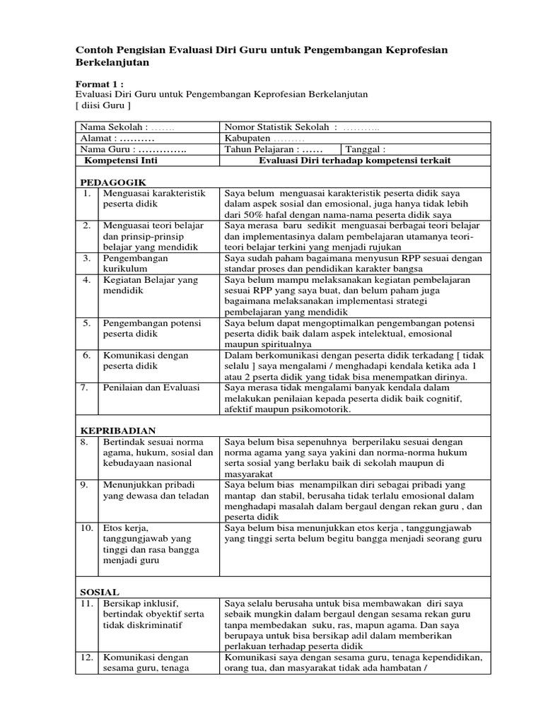 Contoh Pengisian Evaluasi Diri Guru Untuk Pengembangan Keprofesian Berkelanjutan