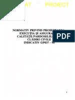 GP 037-0-1998 - Proiect, Ex Si Asig Calit Pard La Clad Civile