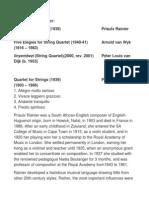 Programme Notes South African Quartets - Priaulx Rainier, Arnold van Wyk, Peter Louis van Dijk
