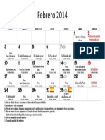 Febrero 2014. Calendario Litúrgico Forma Extraordinaria
