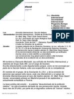Petición a Amnistia Internacional en favor del Dr. Hamer y correspondencia mantenida.