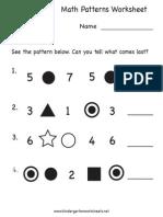 Math Patterns Worksheet