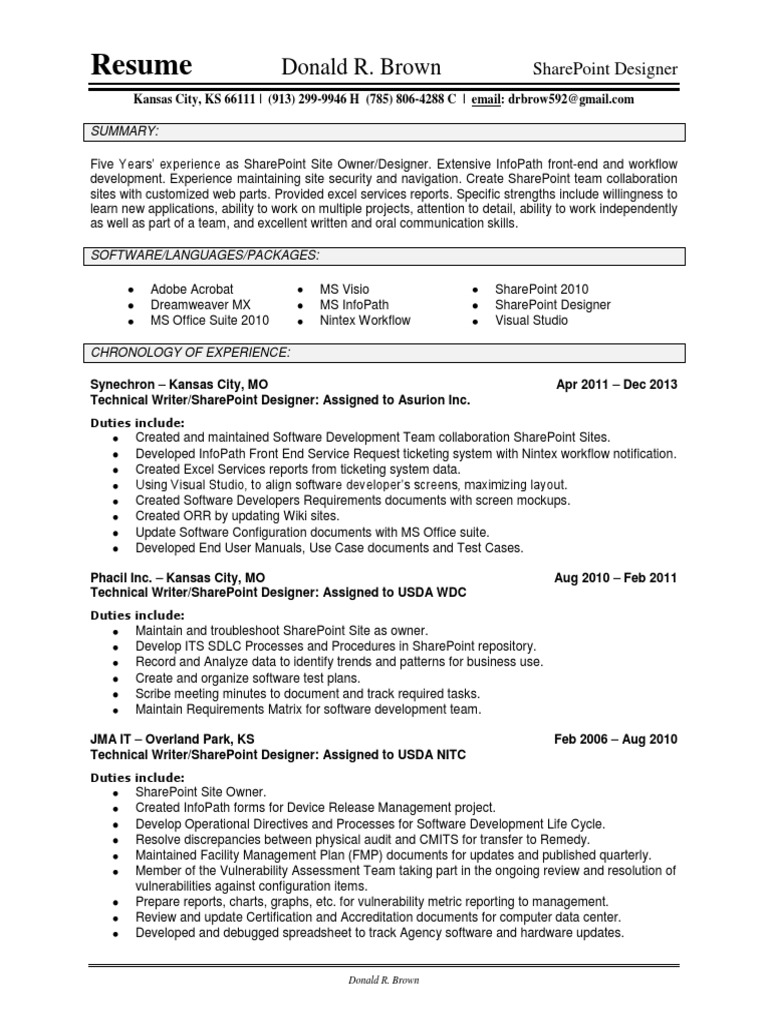 Nice Sharepoint Designer 2010 Resume Images - Examples Professional ...