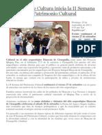 Ministerio de Cultura Inicia La II Semana Del Patrimonio Cultural