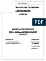 General Defencs in Law of Contracts