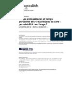 Temporalites 988 9 Temps Professionnel Et Temps Personnel Des Travailleuses Du Care Permeabilite Ou Clivage