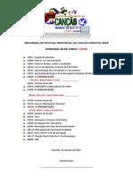 PROGRAMA DO FESTIVAL PROVINCIAL DA CANÇÃO INFANTIL 2013