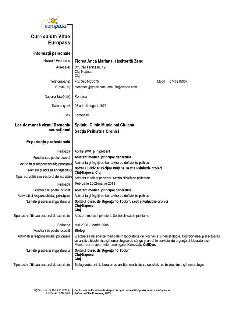 Cv asistent medical yelopaper Choice Image