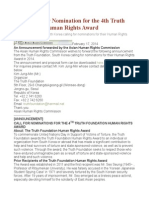 ASIA Call for Nomination for the 4th Truth Foundation Human Rights Award