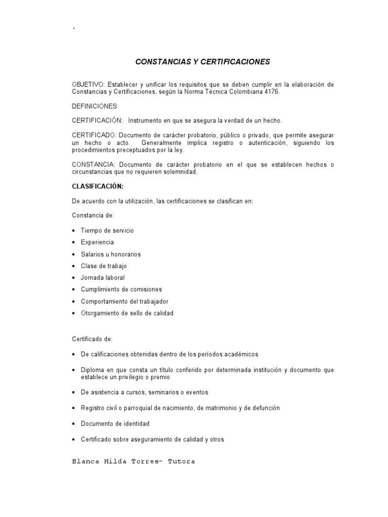 CONSTANCIAS Y CERTIFICACIONES