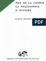 1956. Derrida, J. Le Probleme de La Genese Dans La Philosophie de Husserl