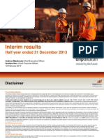 BHP Billiton Results for the Half Year Ended 31 December 2013